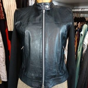 Bebe Sport Leather and Knit Zip Jacket/Coat